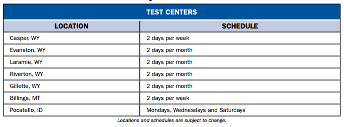 Wyoming Pearson VUE Test Centers