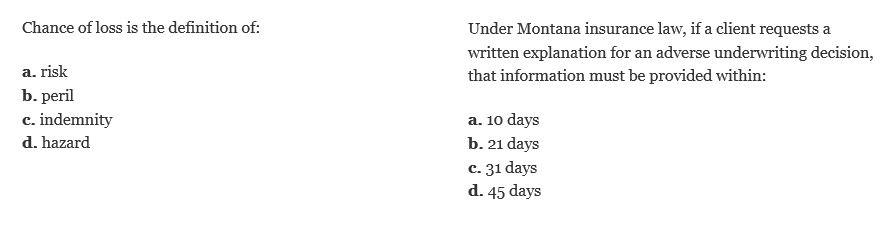 Montana sample questions
